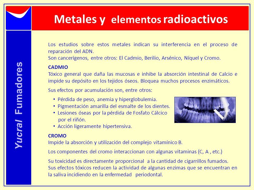 Metales y elementos radioactivos Yucral Fumadores Los estudios sobre estos metales indican su interferencia en el proceso de reparación del ADN. Son c
