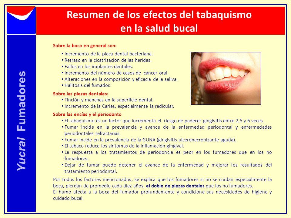 Yucral Fumadores Resumen de los efectos del tabaquismo en la salud bucal Sobre la boca en general son: Incremento de la placa dental bacteriana. Retra