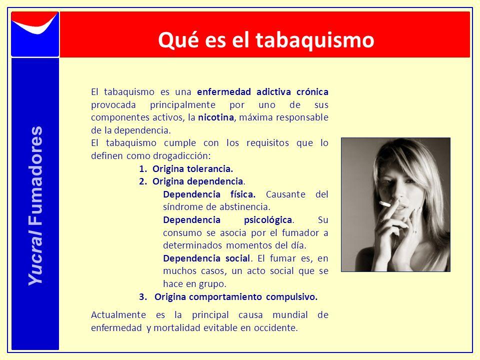 Qué es el tabaquismo Yucral Fumadores El tabaquismo es una enfermedad adictiva crónica provocada principalmente por uno de sus componentes activos, la