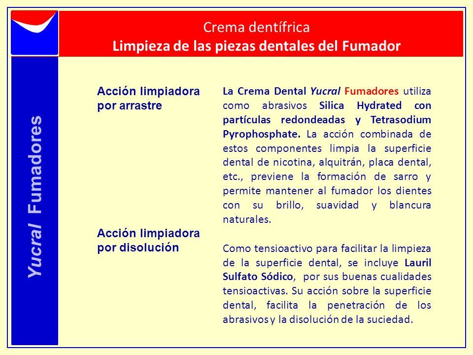 Yucral Fumadores Acción limpiadora por arrastre Acción limpiadora por disolución La Crema Dental Yucral Fumadores utiliza como abrasivos Silica Hydrat