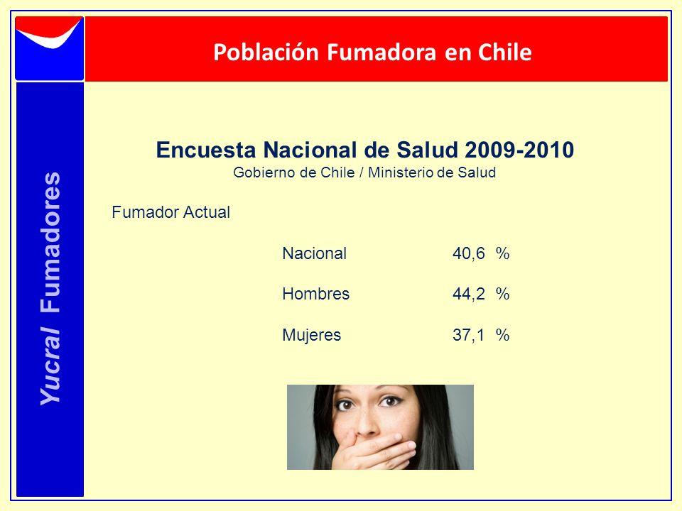 Yucral Fumadores Población Fumadora en Chile Encuesta Nacional de Salud 2009-2010 Gobierno de Chile / Ministerio de Salud Fumador Actual Nacional 40,6