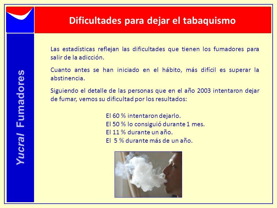 Dificultades para dejar el tabaquismo Yucral Fumadores Las estadísticas reflejan las dificultades que tienen los fumadores para salir de la adicción.