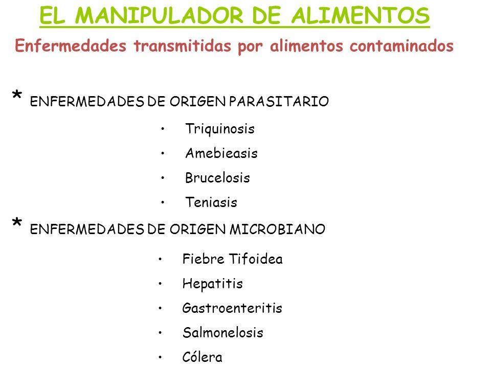 EL MANIPULADOR DE ALIMENTOS Enfermedades transmitidas por alimentos contaminados * ENFERMEDADES DE ORIGEN MICROBIANO * ENFERMEDADES DE ORIGEN PARASITA