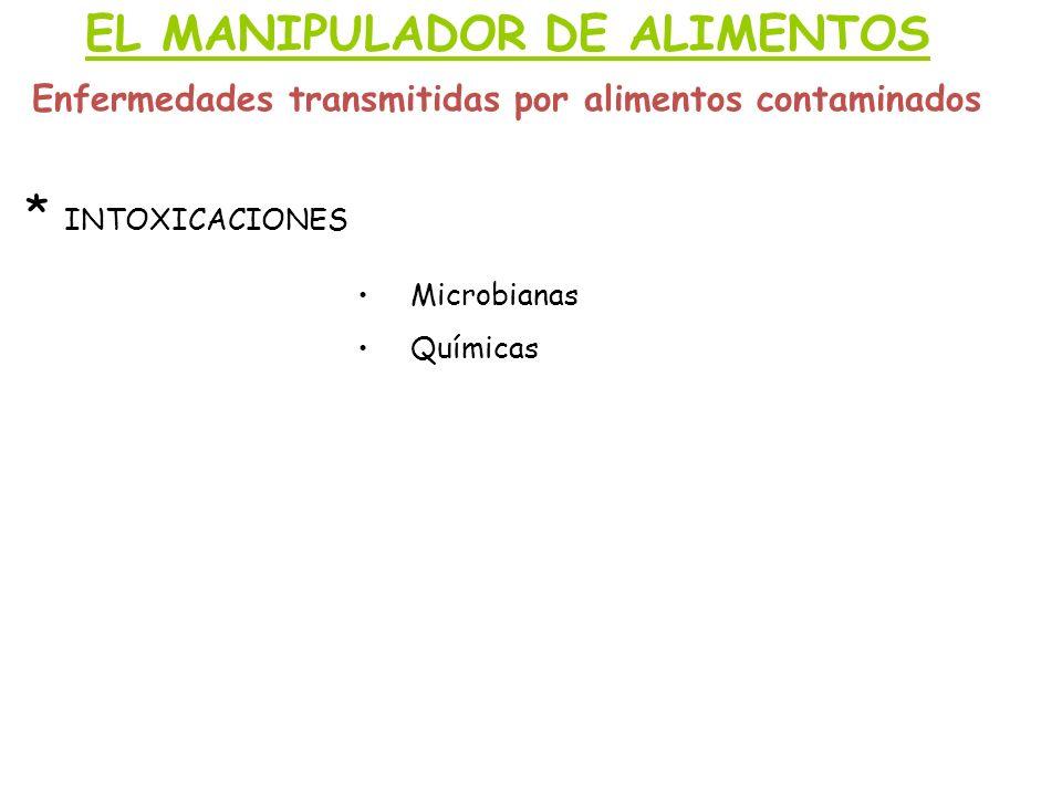 EL MANIPULADOR DE ALIMENTOS Enfermedades transmitidas por alimentos contaminados * INTOXICACIONES Microbianas Químicas
