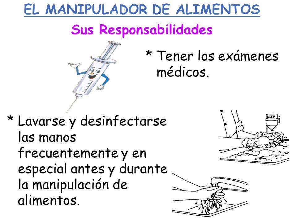 EL MANIPULADOR DE ALIMENTOS Sus Responsabilidades * Tener los exámenes médicos. * Lavarse y desinfectarse las manos frecuentemente y en especial antes