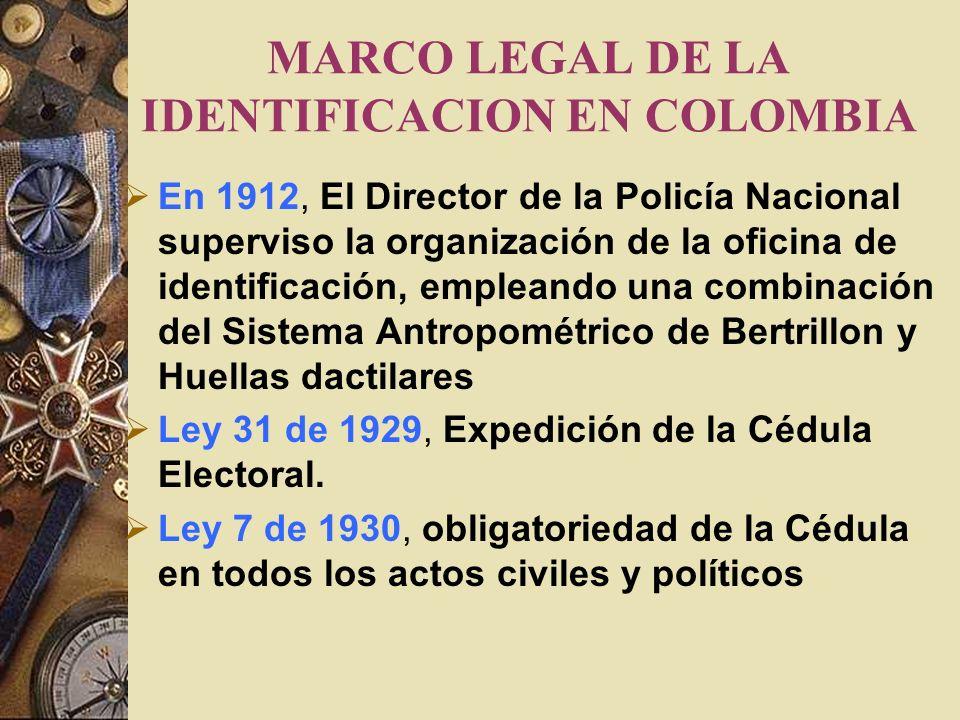 MARCO LEGAL DE LA IDENTIFICACION EN COLOMBIA En 1912, El Director de la Policía Nacional superviso la organización de la oficina de identificación, empleando una combinación del Sistema Antropométrico de Bertrillon y Huellas dactilares Ley 31 de 1929, Expedición de la Cédula Electoral.
