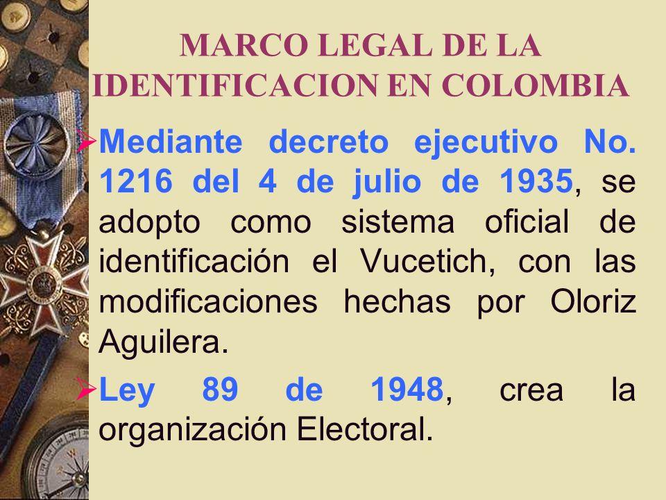 MARCO LEGAL DE LA IDENTIFICACION EN COLOMBIA En 1912, El Director de la Policía Nacional superviso la organización de la oficina de identificación, em