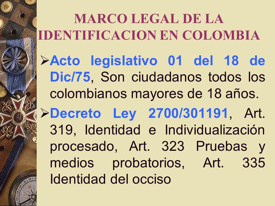 MARCO LEGAL DE LA IDENTIFICACION EN COLOMBIA Acto legislativo 01 del 18 de Dic/75, Son ciudadanos todos los colombianos mayores de 18 años.