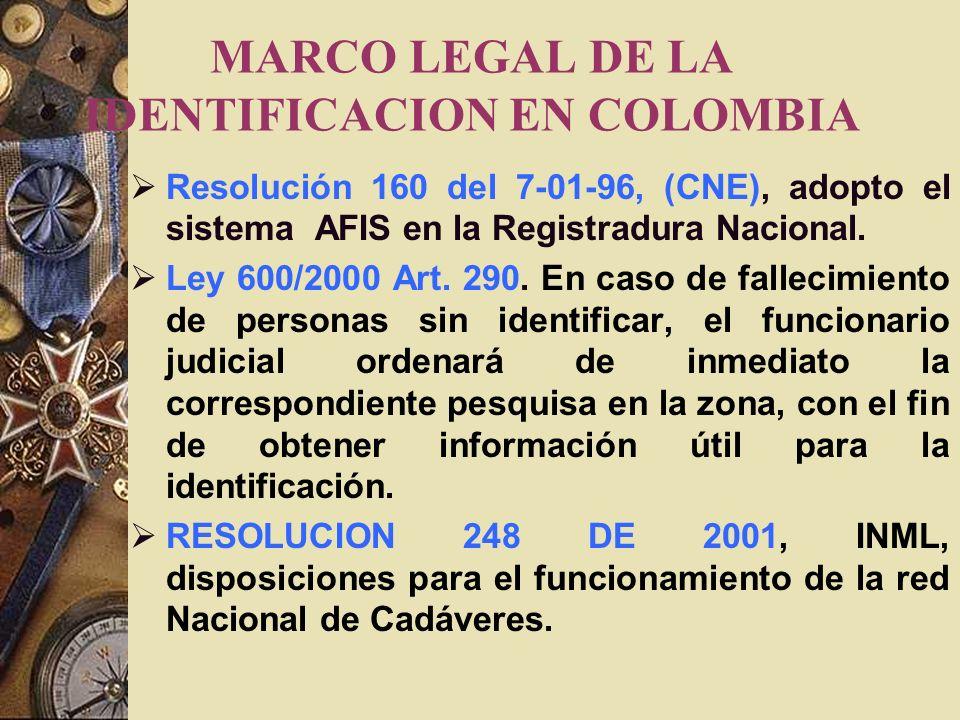 MARCO LEGAL DE LA IDENTIFICACION EN COLOMBIA Resolución 160 del 7-01-96, (CNE), adopto el sistema AFIS en la Registradura Nacional.