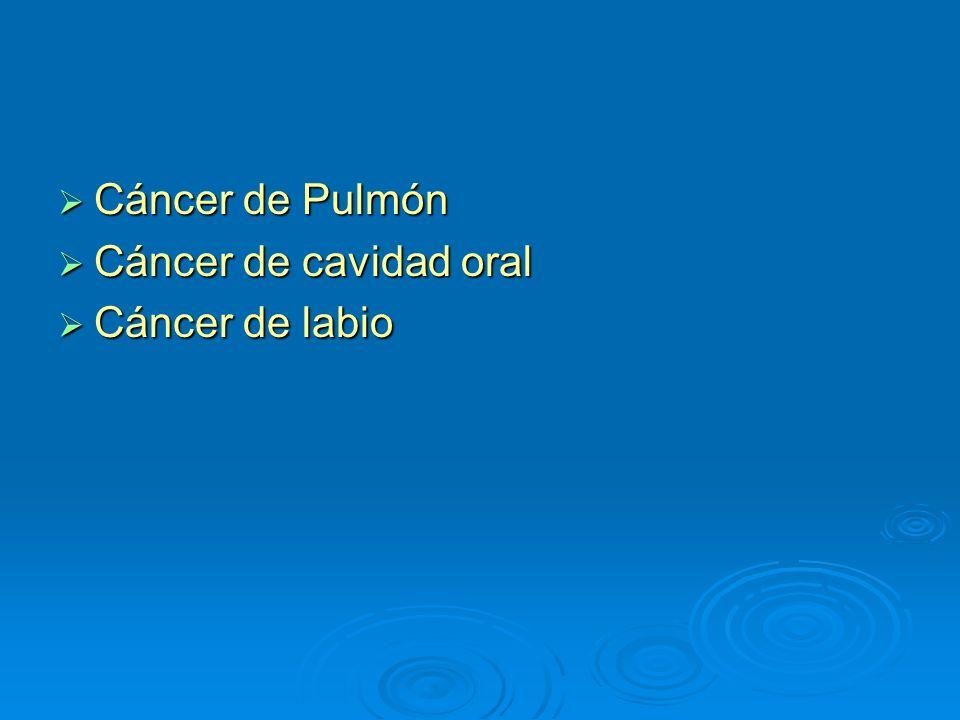 Cáncer de Pulmón Cáncer de Pulmón Cáncer de cavidad oral Cáncer de cavidad oral Cáncer de labio Cáncer de labio
