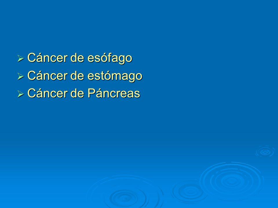 Cáncer de esófago Cáncer de esófago Cáncer de estómago Cáncer de estómago Cáncer de Páncreas Cáncer de Páncreas