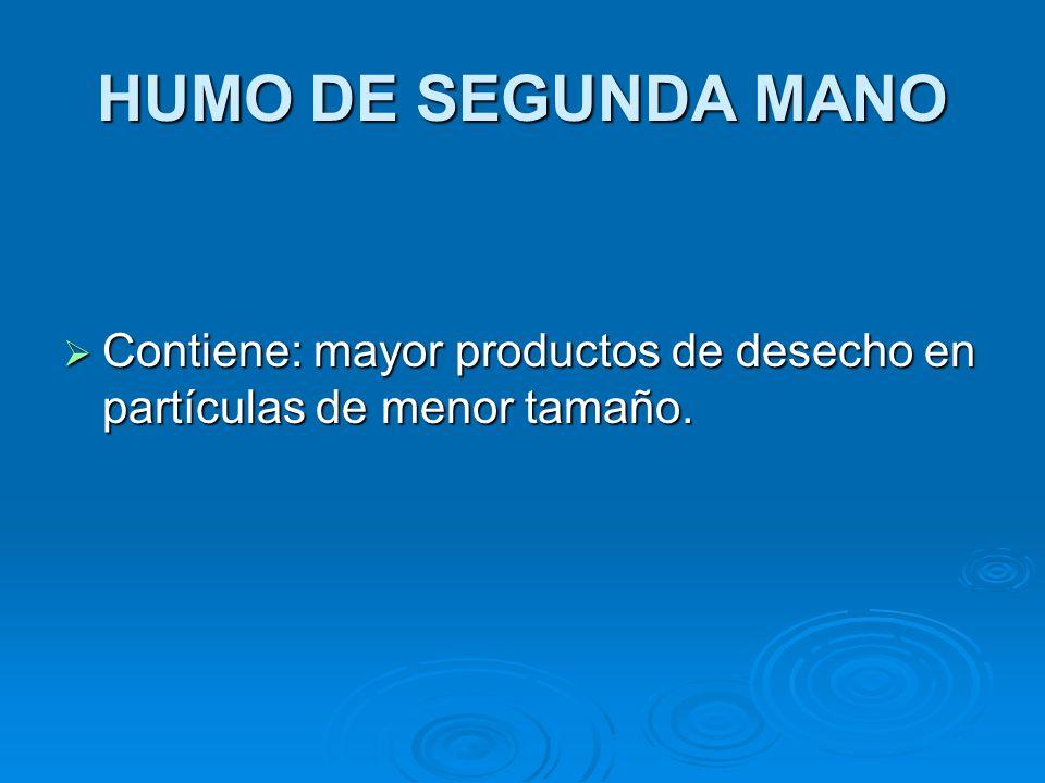 HUMO DE SEGUNDA MANO Contiene: mayor productos de desecho en partículas de menor tamaño. Contiene: mayor productos de desecho en partículas de menor t