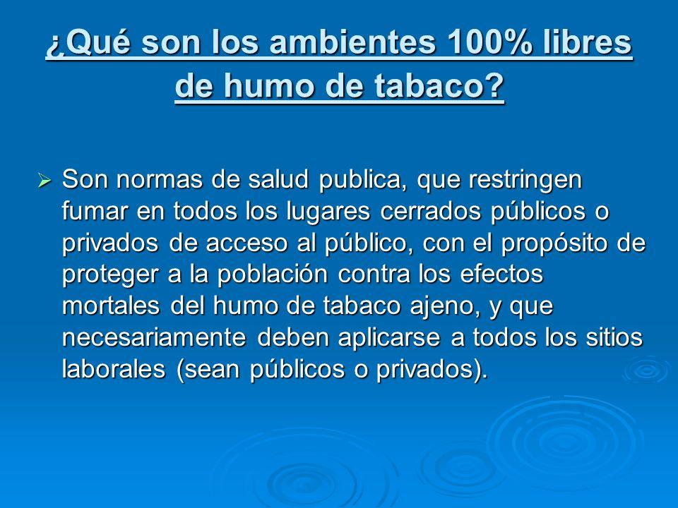 ¿Qué son los ambientes 100% libres de humo de tabaco? Son normas de salud publica, que restringen fumar en todos los lugares cerrados públicos o priva