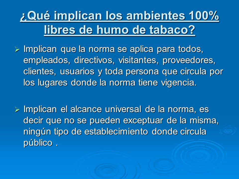 ¿Qué implican los ambientes 100% libres de humo de tabaco? Implican que la norma se aplica para todos, empleados, directivos, visitantes, proveedores,