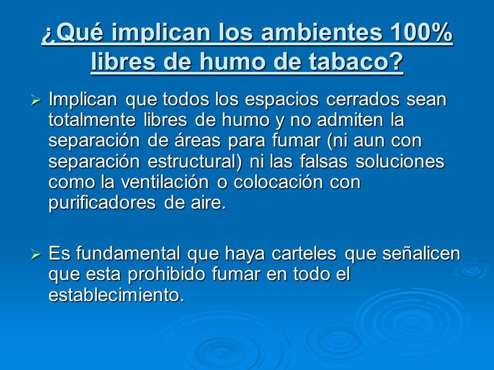 ¿Qué implican los ambientes 100% libres de humo de tabaco? Implican que todos los espacios cerrados sean totalmente libres de humo y no admiten la sep