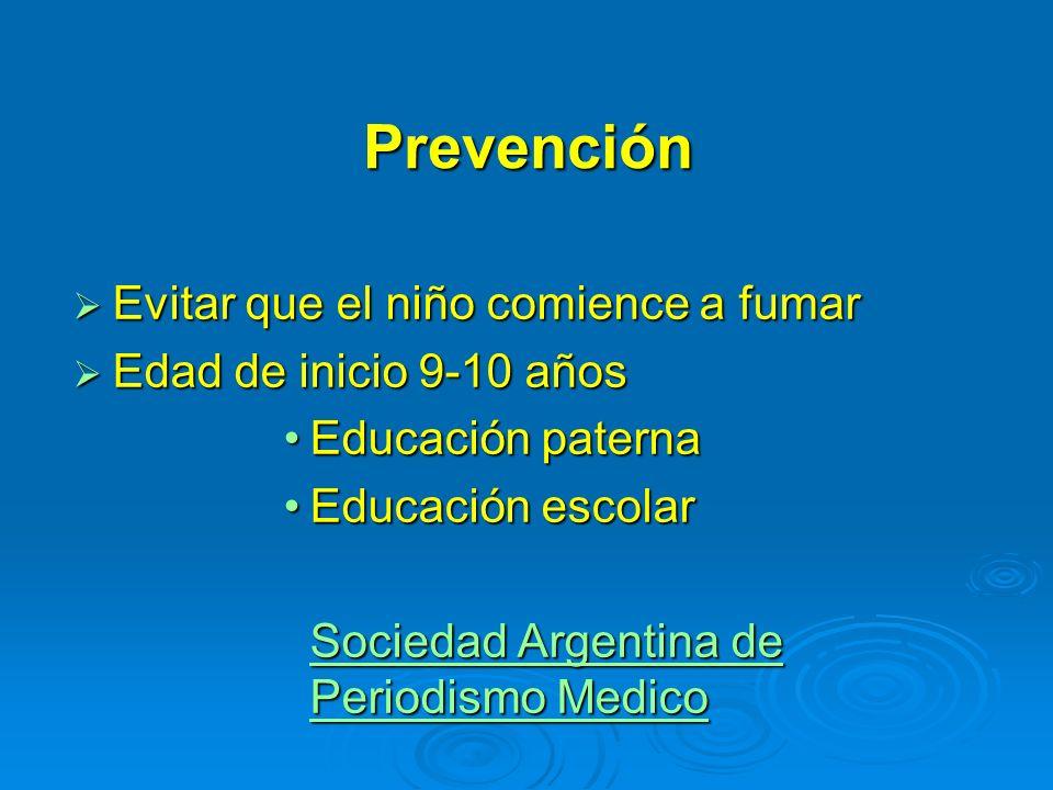 Prevención Evitar que el niño comience a fumar Evitar que el niño comience a fumar Edad de inicio 9-10 años Edad de inicio 9-10 años Educación paterna