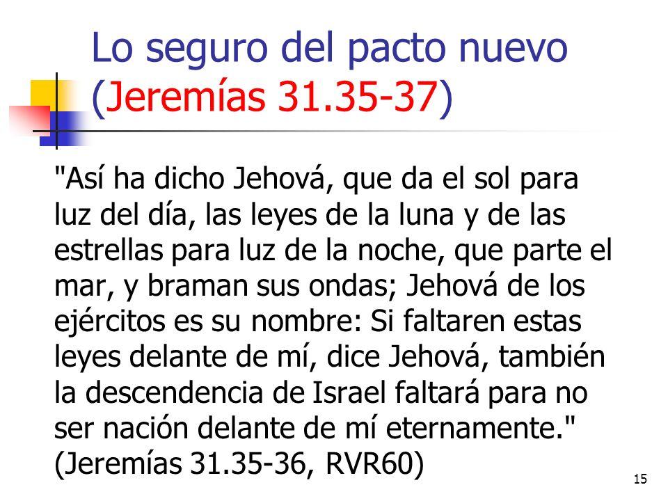 15 Lo seguro del pacto nuevo (Jeremías 31.35-37)