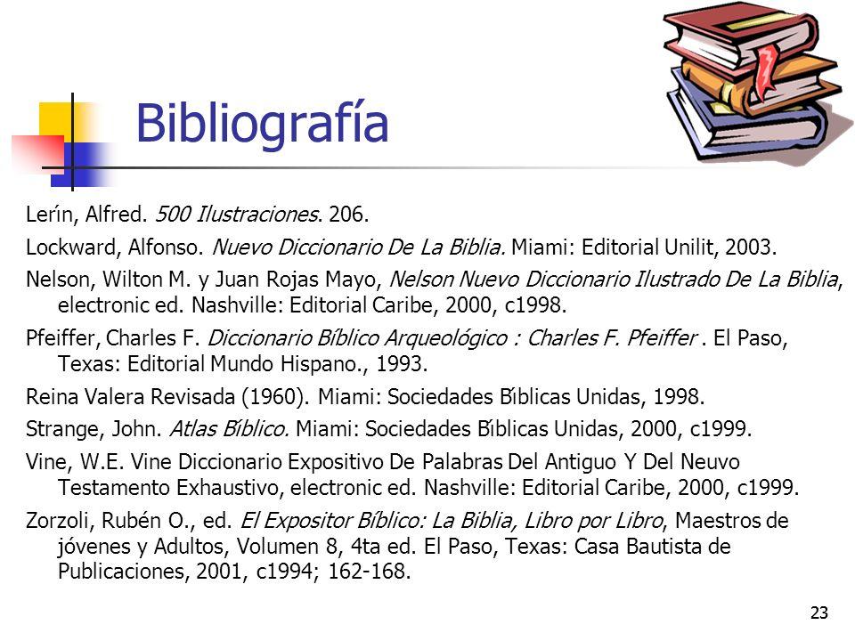 23 Bibliografía Lerı́n, Alfred. 500 Ilustraciones. 206. Lockward, Alfonso. Nuevo Diccionario De La Biblia. Miami: Editorial Unilit, 2003. Nelson, Wilt