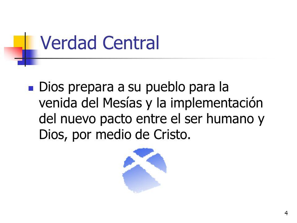 4 Verdad Central Dios prepara a su pueblo para la venida del Mesías y la implementación del nuevo pacto entre el ser humano y Dios, por medio de Crist