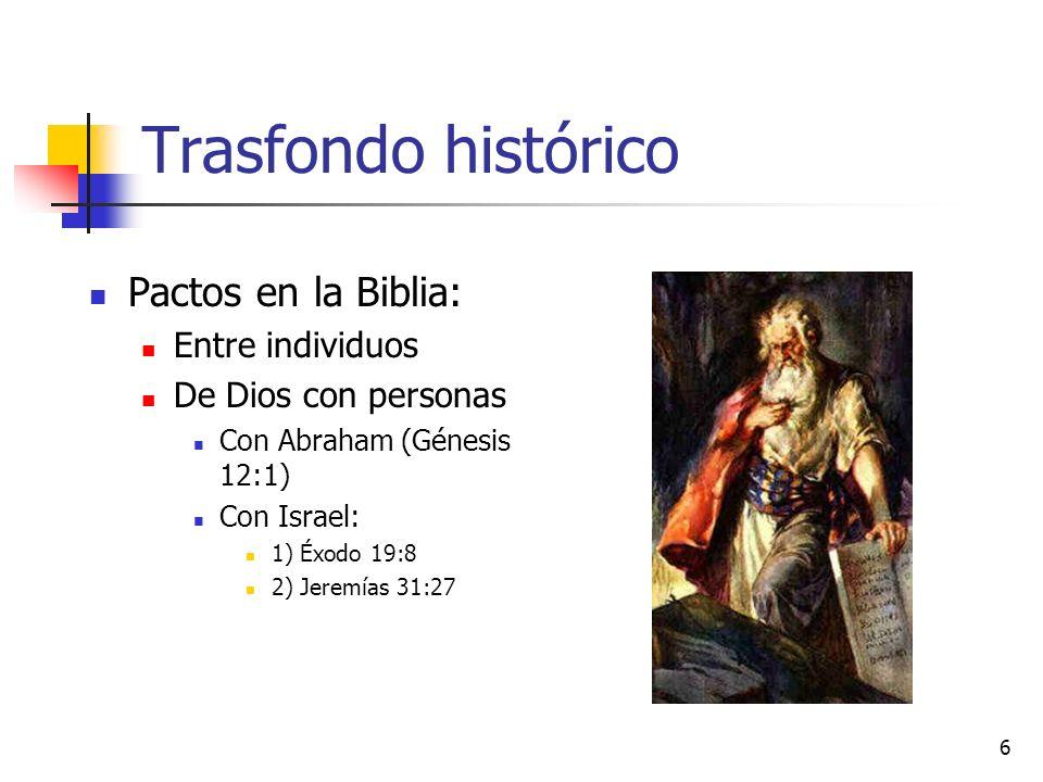 Trasfondo histórico Pactos en la Biblia: Entre individuos De Dios con personas Con Abraham (Génesis 12:1) Con Israel: 1) Éxodo 19:8 2) Jeremías 31:27