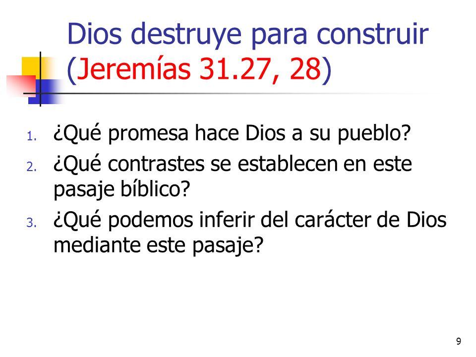 1. ¿Qué promesa hace Dios a su pueblo? 2. ¿Qué contrastes se establecen en este pasaje bíblico? 3. ¿Qué podemos inferir del carácter de Dios mediante