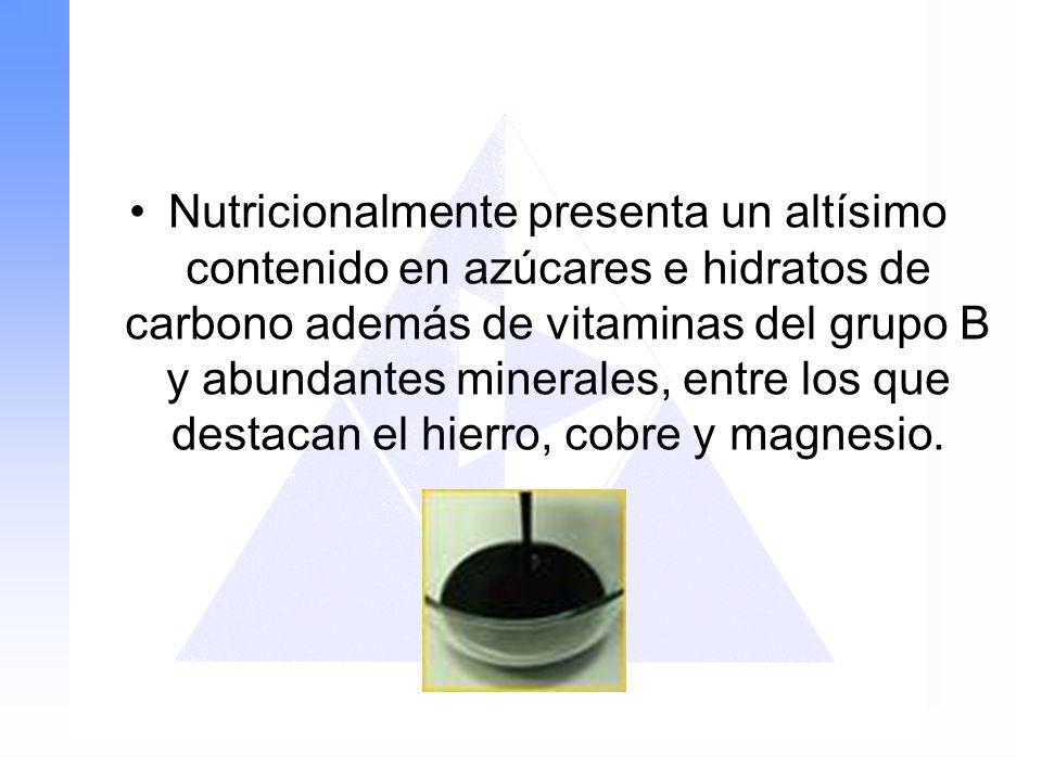 Nutricionalmente presenta un altísimo contenido en azúcares e hidratos de carbono además de vitaminas del grupo B y abundantes minerales, entre los qu