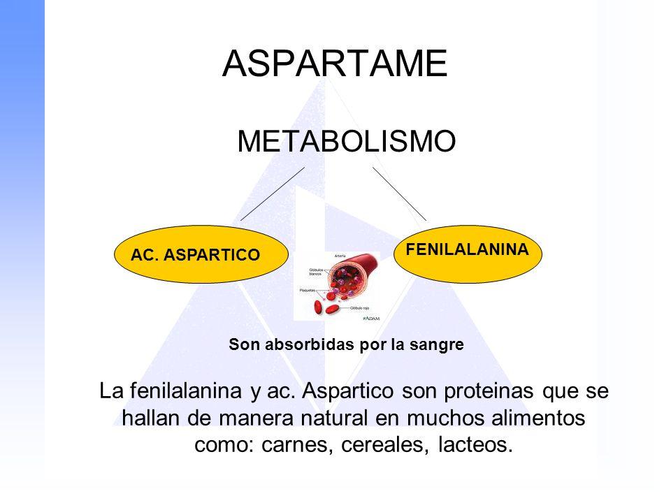ASPARTAME METABOLISMO AC. ASPARTICO FENILALANINA Son absorbidas por la sangre La fenilalanina y ac. Aspartico son proteinas que se hallan de manera na