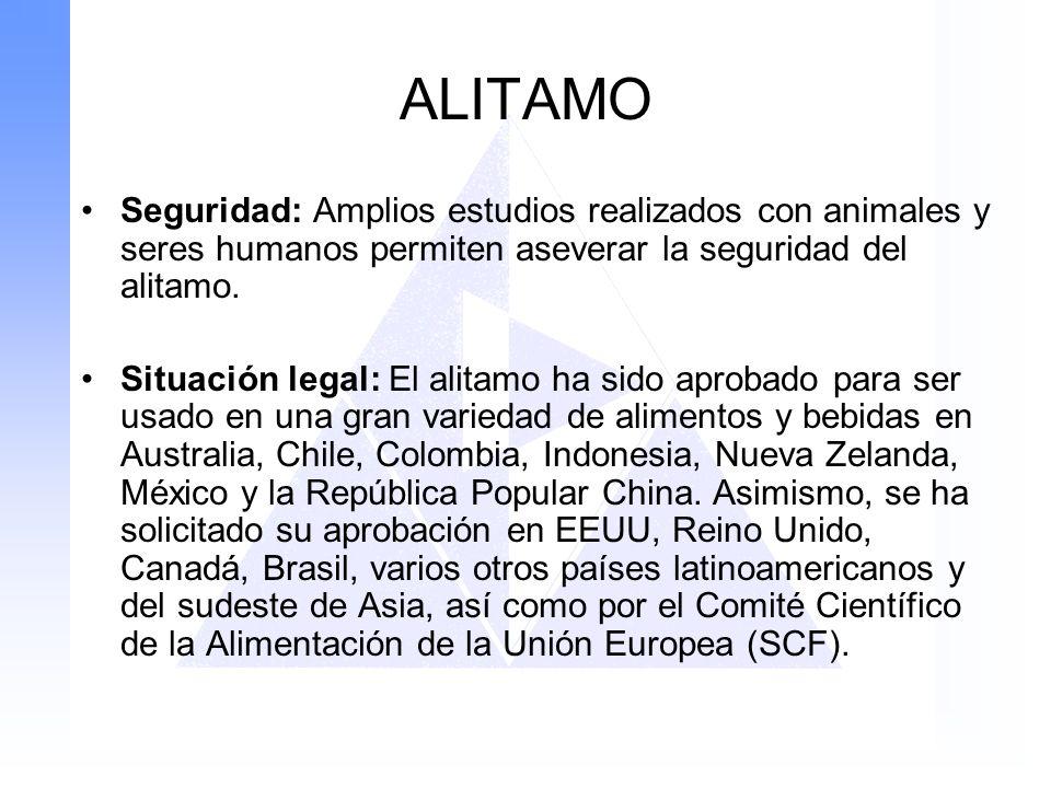 ALITAMO Seguridad: Amplios estudios realizados con animales y seres humanos permiten aseverar la seguridad del alitamo. Situación legal: El alitamo ha