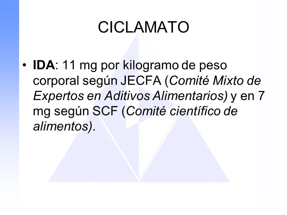 CICLAMATO IDA: 11 mg por kilogramo de peso corporal según JECFA (Comité Mixto de Expertos en Aditivos Alimentarios) y en 7 mg según SCF (Comité cientí