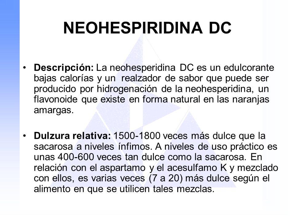 NEOHESPIRIDINA DC Descripción: La neohesperidina DC es un edulcorante bajas calorías y un realzador de sabor que puede ser producido por hidrogenación