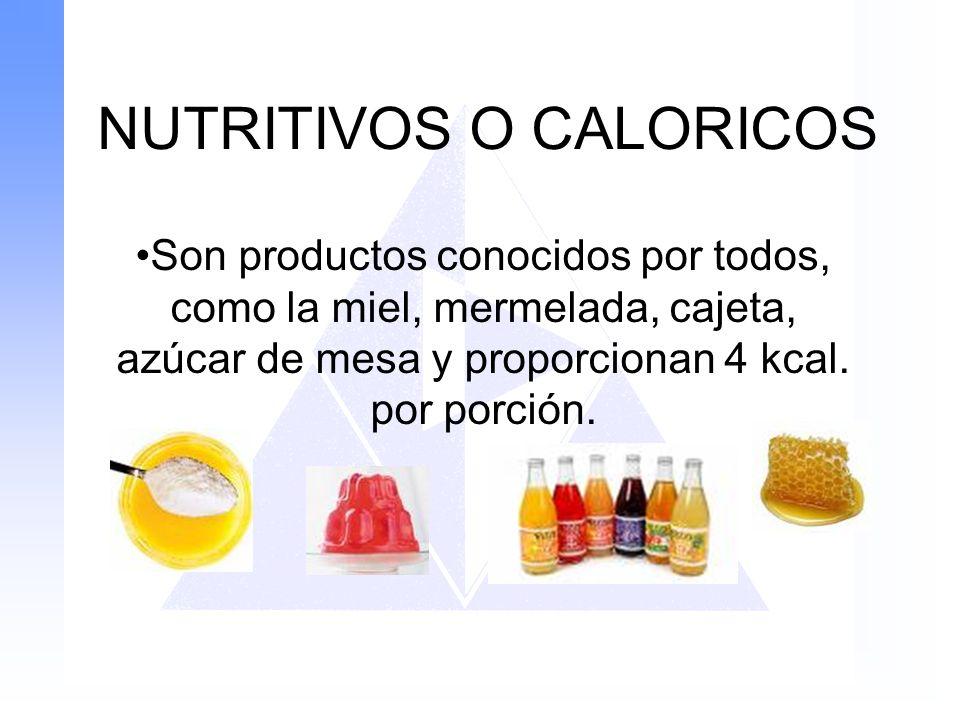 NUTRITIVOS O CALORICOS Son productos conocidos por todos, como la miel, mermelada, cajeta, azúcar de mesa y proporcionan 4 kcal. por porción.