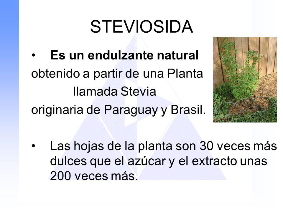 STEVIOSIDA Es un endulzante natural obtenido a partir de una Planta llamada Stevia originaria de Paraguay y Brasil. Las hojas de la planta son 30 vece