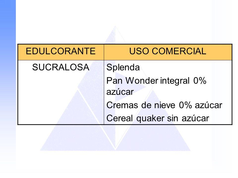 EDULCORANTEUSO COMERCIAL SUCRALOSASplenda Pan Wonder integral 0% azúcar Cremas de nieve 0% azúcar Cereal quaker sin azúcar