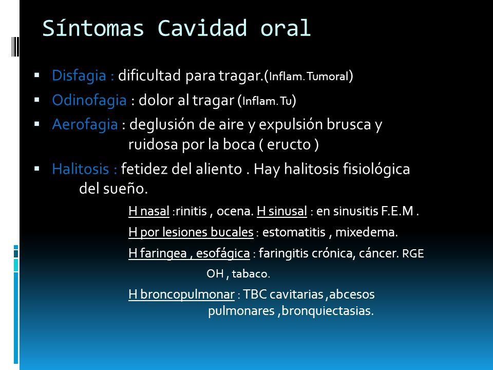 Síntomas Cavidad oral Disfagia : dificultad para tragar.( Inflam. Tumoral ) Odinofagia : dolor al tragar ( Inflam. Tu ) Aerofagia : deglusión de aire