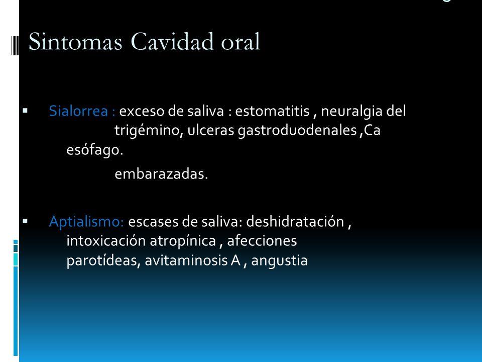 e Sialorrea : exceso de saliva : estomatitis, neuralgia del trigémino, ulceras gastroduodenales,Ca esófago. embarazadas. Aptialismo: escases de saliva