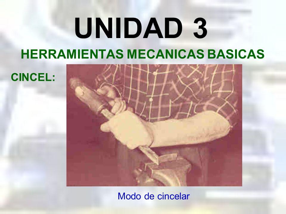 UNIDAD 3 HERRAMIENTAS MECANICAS BASICAS CINCEL: Tipos generales