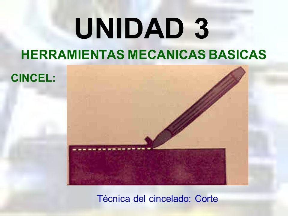 UNIDAD 3 HERRAMIENTAS MECANICAS BASICAS CINCEL: Técnica del cincelado