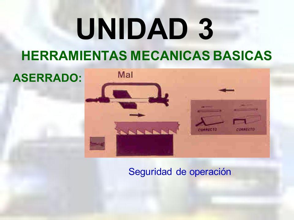 UNIDAD 3 HERRAMIENTAS MECANICAS BASICAS ASERRADO: Seguridad de operación
