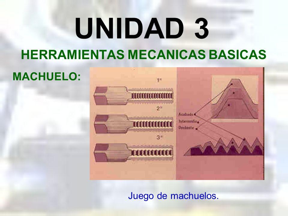 UNIDAD 3 HERRAMIENTAS MECANICAS BASICAS MACHUELO: Es una herramienta de corte que nos sirve para el tallado de roscas interna en componentes mecánicos