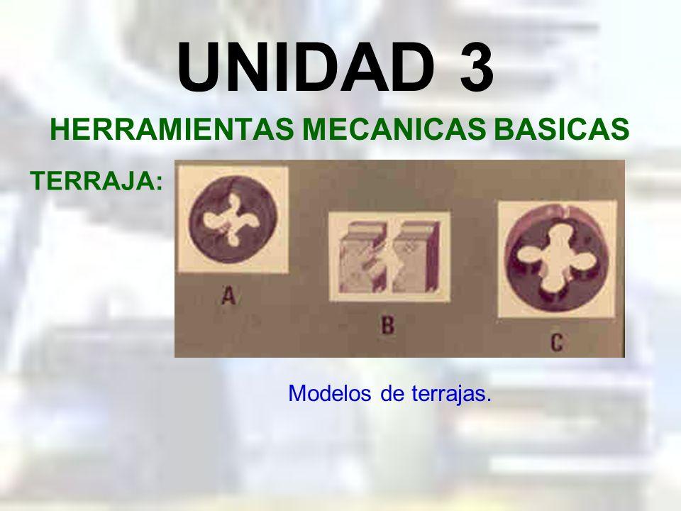 UNIDAD 3 HERRAMIENTAS MECANICAS BASICAS TERRAJA: Es una herramienta de corte que nos sirve para el tallado de roscas externas en componentes mecánicos