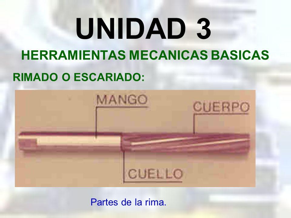 UNIDAD 3 HERRAMIENTAS MECANICAS BASICAS RIMADO O ESCARIADO: Es una operación de corte manual por arranque de viruta, utilizado en taladros que deben g