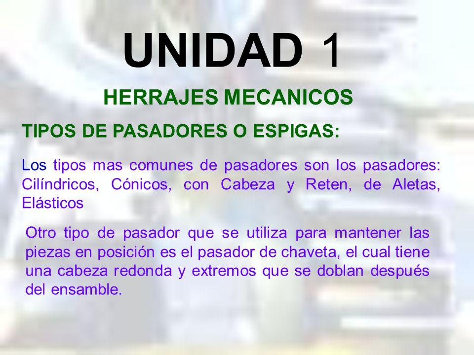 UNIDAD 1 HERRAJES MECANICOS PASADORES O ESPIGAS: Los pasadores o espigas se usan donde tienen que mantenerse alineamientos muy precisos entre dos o má