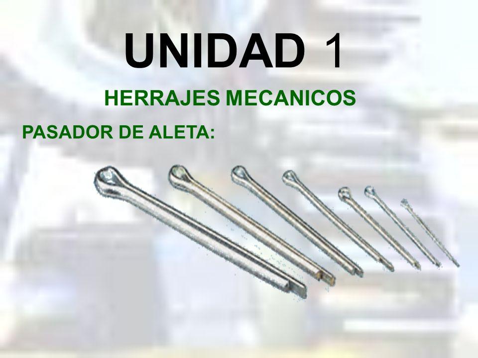UNIDAD 1 HERRAJES MECANICOS PASADOR CON CABEZA Y RETEN: Gama de tamaños individuales de pasadores con cabeza y retenes de fijación fabricados con acer