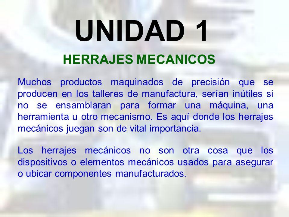 UNIDAD 1 HERRAJES MECANICOS Muchos productos maquinados de precisión que se producen en los talleres de manufactura, serían inútiles si no se ensamblaran para formar una máquina, una herramienta u otro mecanismo.