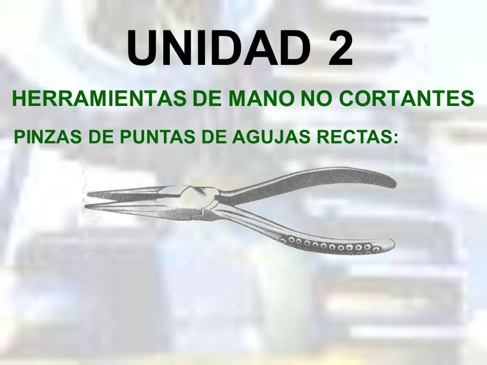 UNIDAD 2 HERRAMIENTAS DE MANO NO CORTANTES PINZAS DE PUNTAS REDONDAS: Usadas para manipular alambres o cables delgados