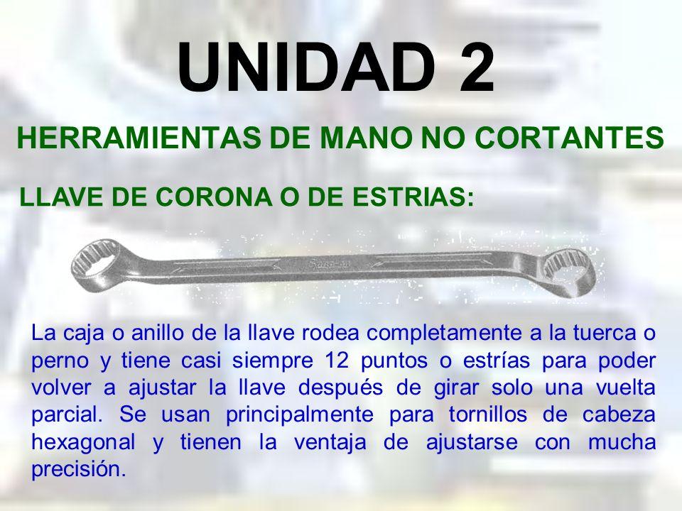 UNIDAD 2 HERRAMIENTAS DE MANO NO CORTANTES LLAVE DE BOCA O ESPAÑOLA: Son las más apropiadas para propósitos de sujeción o aflojamiento de pernos y tur