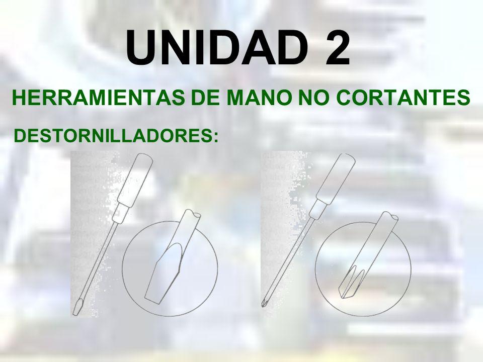UNIDAD 2 HERRAMIENTAS DE MANO NO CORTANTES DESTORNILLADORES: Los dos tipos de destornilladores que más se usan son: el estándar y el Philips, conocido