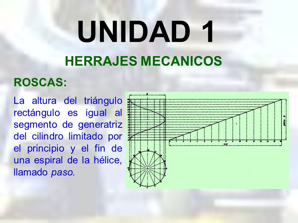 UNIDAD 1 HERRAJES MECANICOS La altura del triángulo rectángulo es igual al segmento de generatriz del cilindro limitado por el principio y el fin de una espiral de la hélice, llamado paso.
