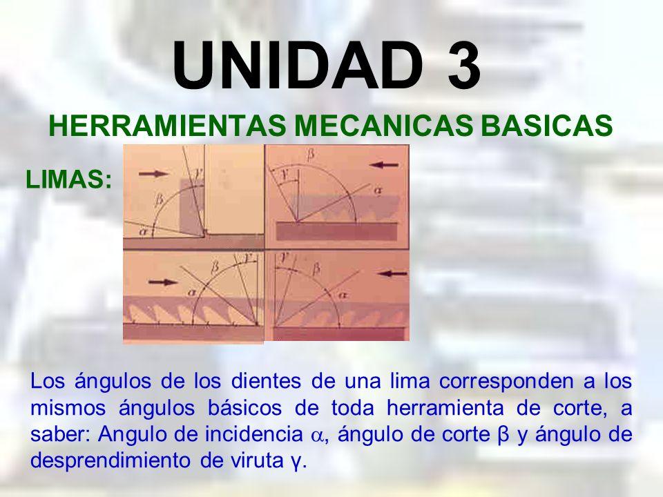 UNIDAD 3 HERRAMIENTAS MECANICAS BASICAS LIMAS: Las características de una lima son: la longitud, ángulo de los dientes y el tamaño del diente (grano)
