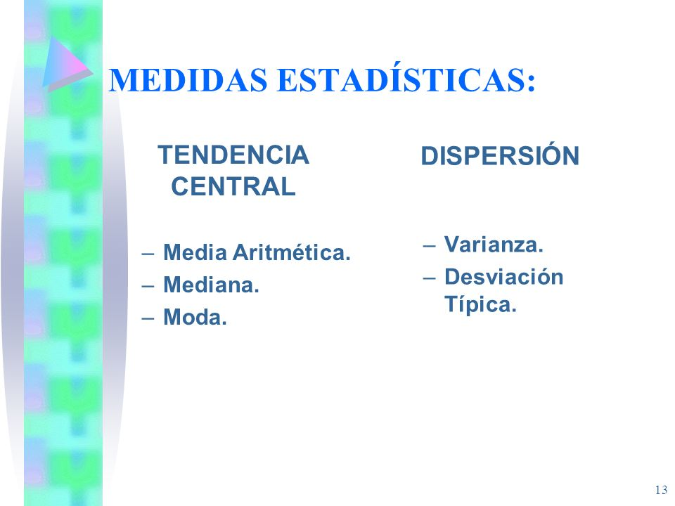 13 MEDIDAS ESTADÍSTICAS: TENDENCIA CENTRAL –Media Aritmética.